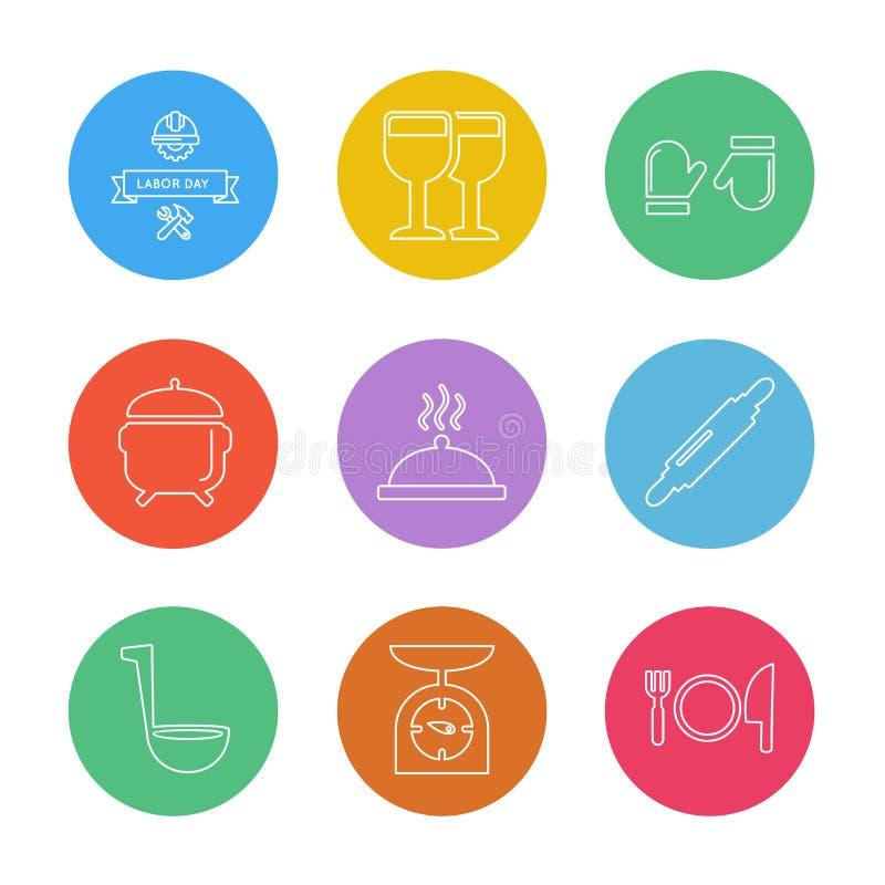 Lebensmittel, die Gesundheit, gesund, Mahlzeit, Getränke, ENV-Ikonen stellte Vektor ein vektor abbildung