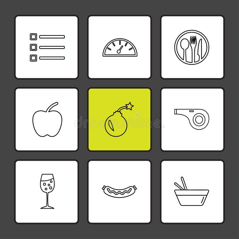 Lebensmittel, die Gesundheit, nutrious, gesund, ENV-Ikonen stellte Vektor ein lizenzfreie abbildung