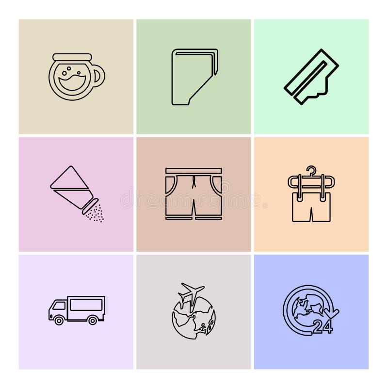 Lebensmittel, Einkaufen, Nahrungsmittel, Tonware, Gesundheit, ENV-Ikonen s stock abbildung