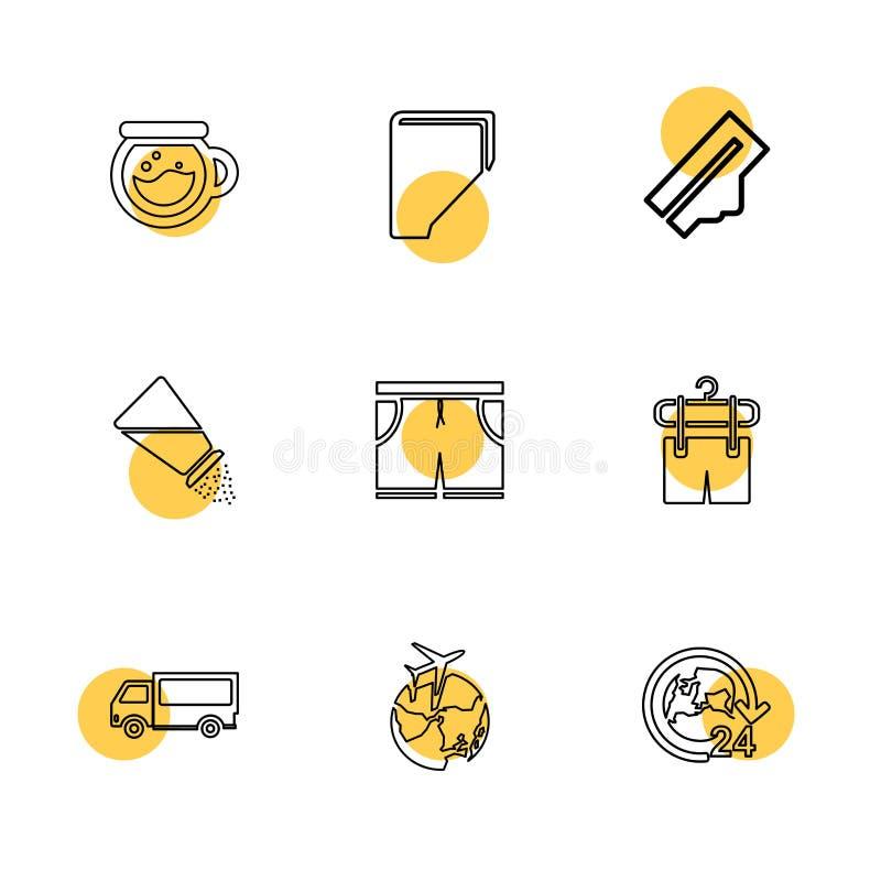 Lebensmittel, Einkaufen, Nahrungsmittel, Tonware, Gesundheit, ENV-Ikonen s lizenzfreie abbildung