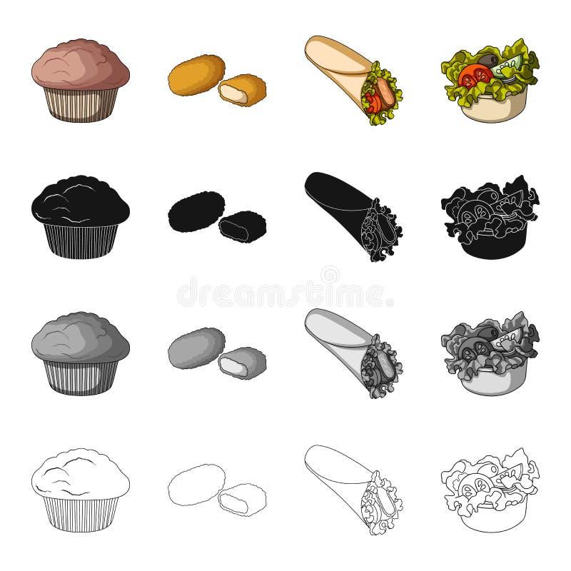 Lebensmittel, Erfrischung, Kuchen und andere Netzikone in der Karikaturart , Fasten Lebensmittel, Picknick, Ikonen in der Satzsam lizenzfreie abbildung