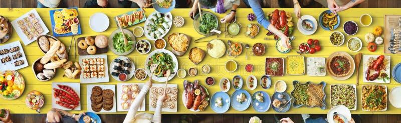 Lebensmittel-festliches Restaurant-Partei-Einheits-Konzept lizenzfreies stockfoto