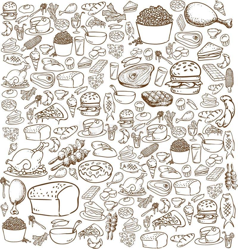 Lebensmittel-Gekritzel stock abbildung