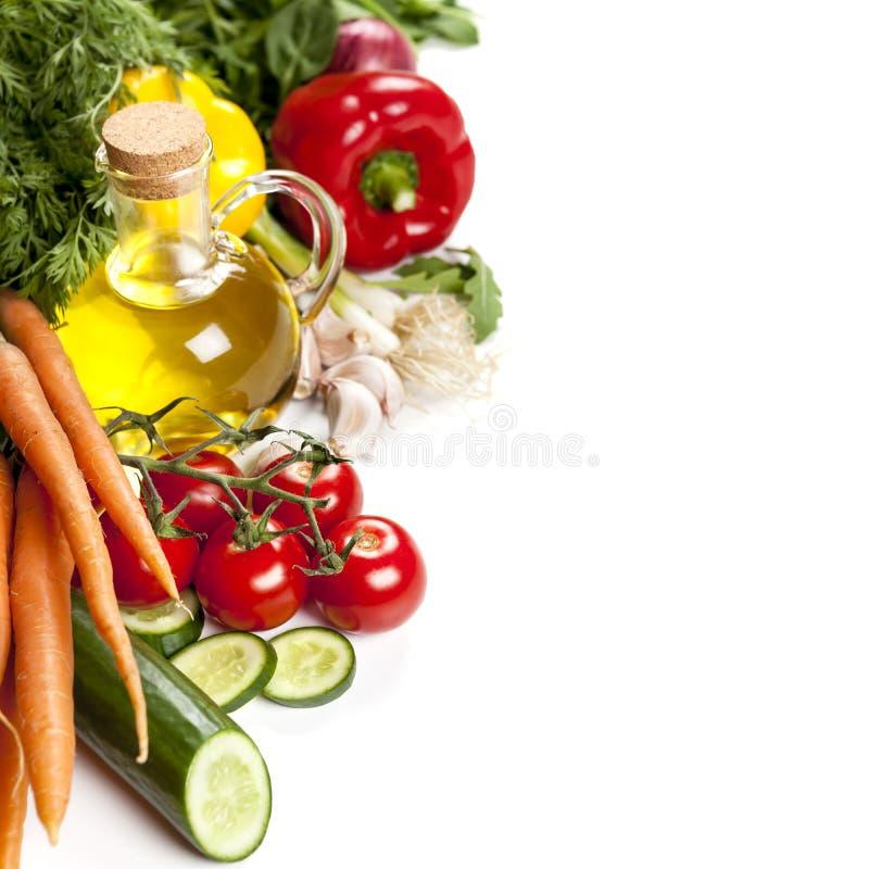 Lebensmittel-Hintergrund über Weiß lizenzfreies stockfoto