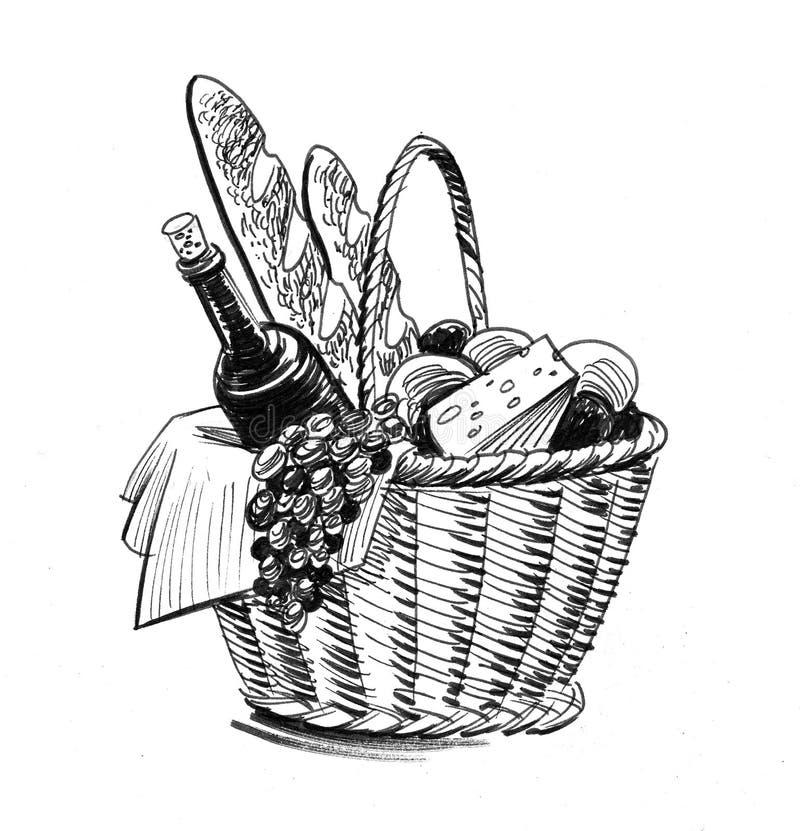 Lebensmittel-Korb lizenzfreie abbildung