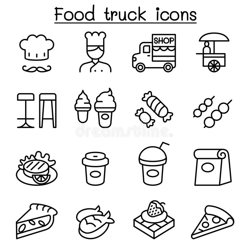 Lebensmittel-LKW-Ikone stellte in dünne Linie Art ein lizenzfreie abbildung