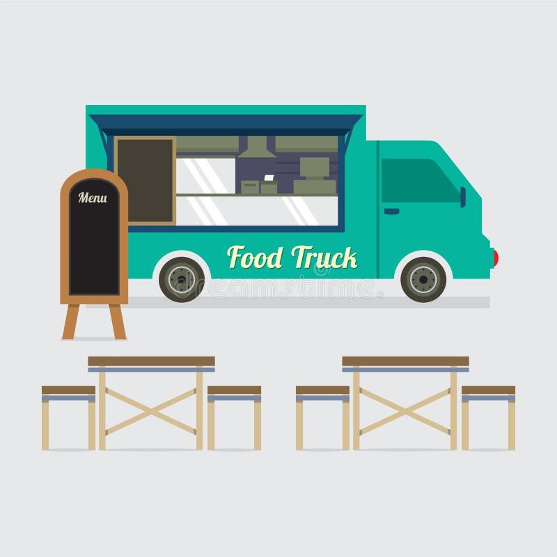 Lebensmittel-LKW mit Tabellen-Satz lizenzfreie abbildung