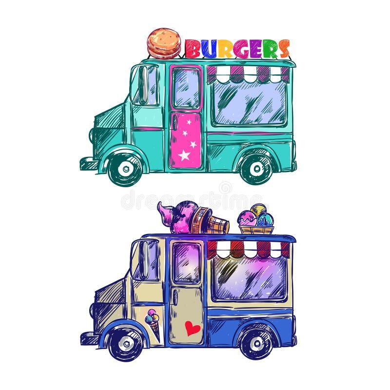 Lebensmittel-LKW-Skizze vektor abbildung. Illustration von sandwich ...