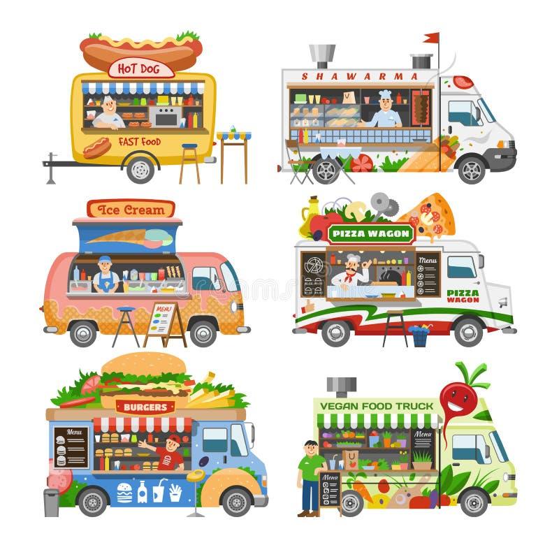 Lebensmittel-LKW-Vektorstraßen-LebensmittellKW-Fahrzeug und Fastfoodlieferungstransport mit Würstchen- oder Pizzaillustrationssat lizenzfreie abbildung