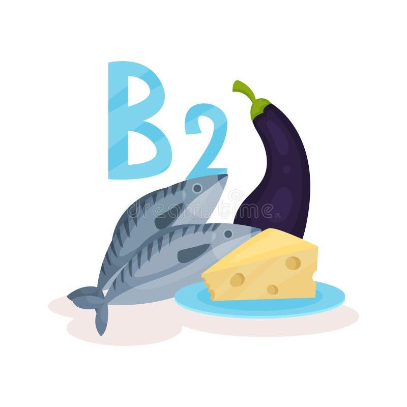Lebensmittel mit Riboflavin des Vitamins B2 Seefisch, Frischkäse und Aubergine Organische Produkte Flaches Vektordesign für Fahne stock abbildung