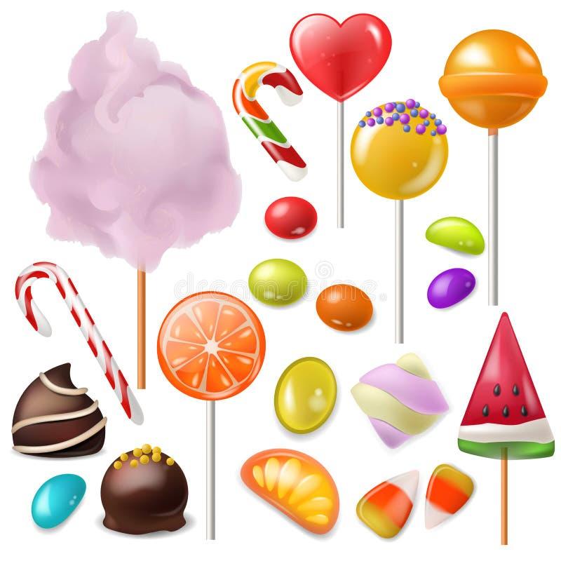 Lebensmittel-Nachtischlutscher des Süßigkeitsvektors süßer oder Karamellbonbon im Süßigkeiten- oder candyshopillustrationssatz Ca lizenzfreie abbildung