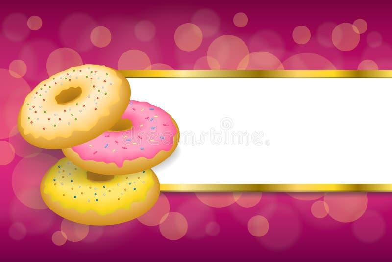 Lebensmittel-Rosagelb des Hintergrundes backte abstraktes Donut glasig-glänzende Ringstreifengoldrahmenillustration vektor abbildung