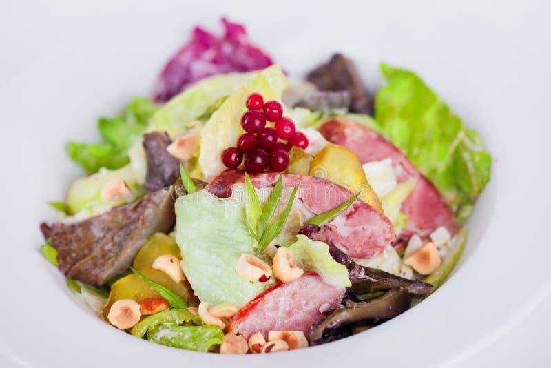 Lebensmittel, Salat mit Eisberg, Fleisch, Pilze, Essiggurken und Haselnüsse pikant stockbilder
