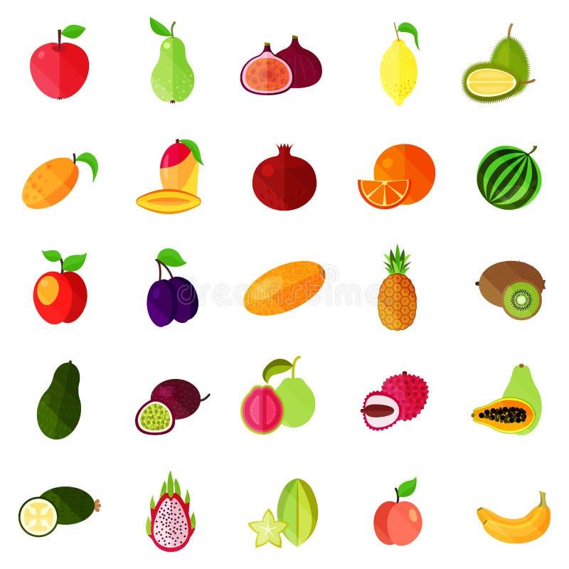 Lebensmittel trägt wie Apfel und Birne, Kiwi und Orange Früchte stock abbildung