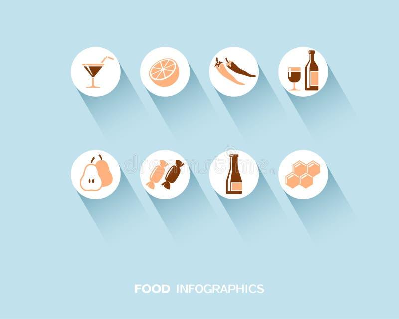 Lebensmittel und Getränk infographic mit den flachen Ikonen eingestellt lizenzfreie abbildung