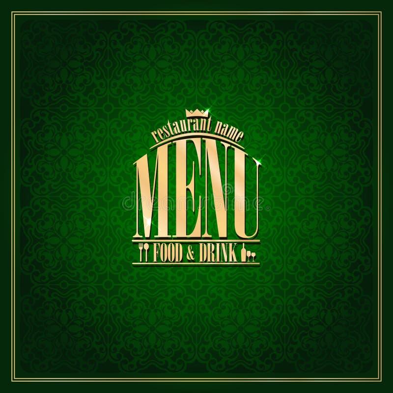 Lebensmittel-und Getränk Restaurant-Menü, Weinlesekartengrün stock abbildung