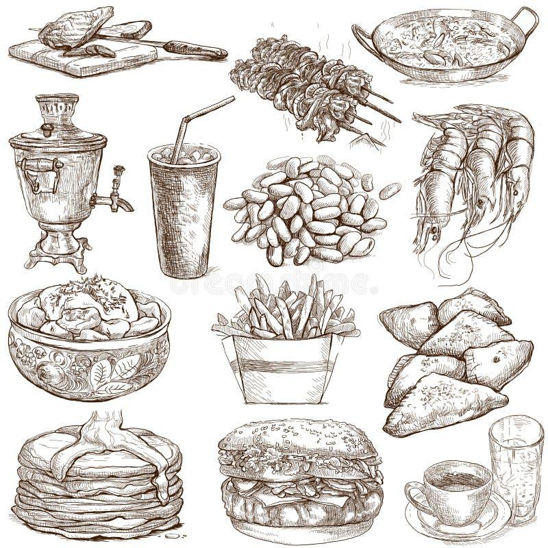 Lebensmittel und Getränke stock abbildung