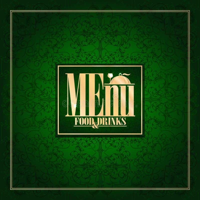Lebensmittel-und Getränke Menü, Weinlesekartengrün lizenzfreie abbildung
