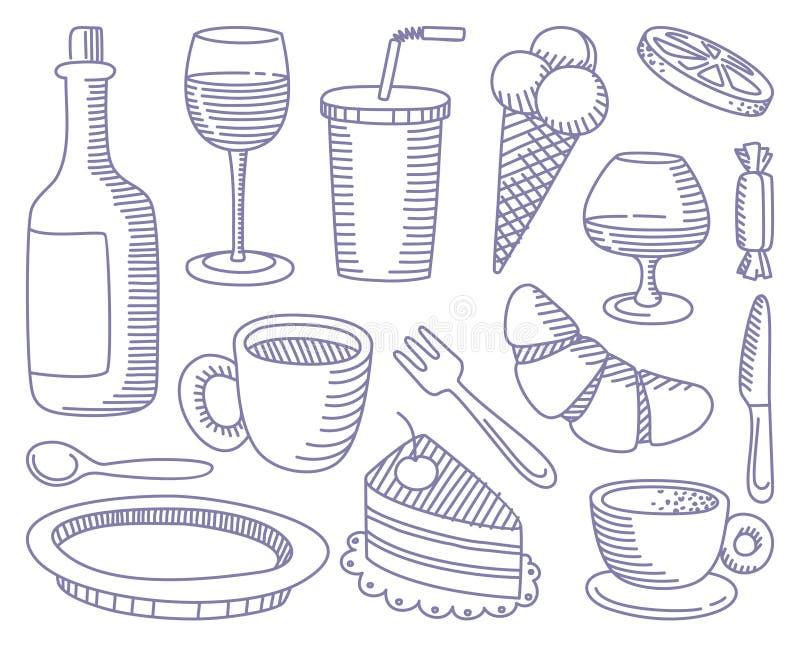 Lebensmittel- und Getränkgekritzel stock abbildung