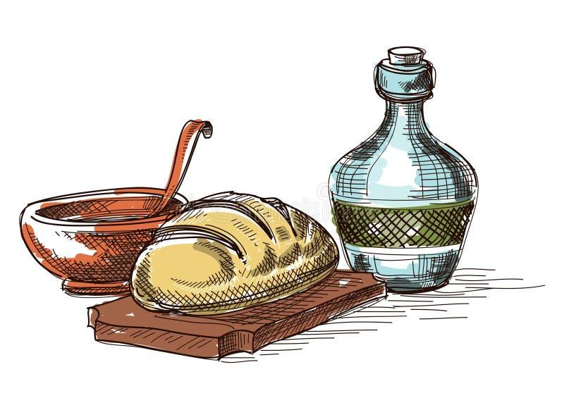 Lebensmittel und Getränkzusammensetzung stock abbildung