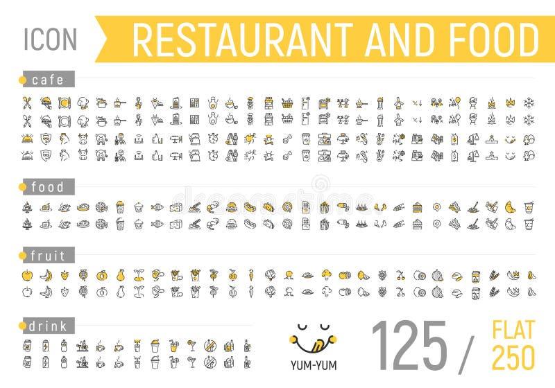 Lebensmittel- und Restaurantikonensatz Flach und linear stock abbildung