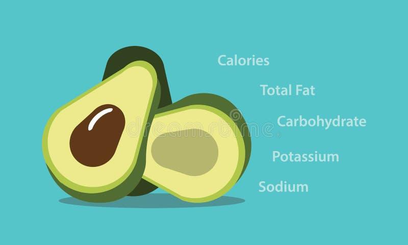 Lebensmittel-Vektorgraphikillustration des Avocadonahrungselements gesunde lizenzfreie abbildung