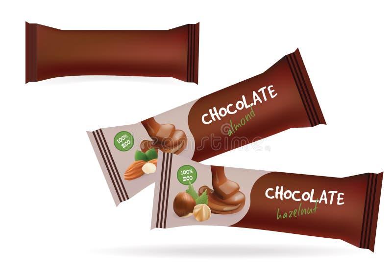 Lebensmittel-Verpackung Vektor-Brown-freien Raumes für Keks, Oblate, Bonbons, Schokoriegel, Schokoriegel, Snäcke Konzept für Gast lizenzfreie abbildung