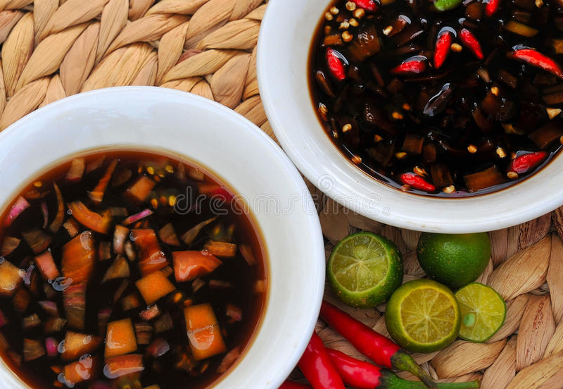 Lebensmittel von den Philippinen, Sawsawan stockfotografie