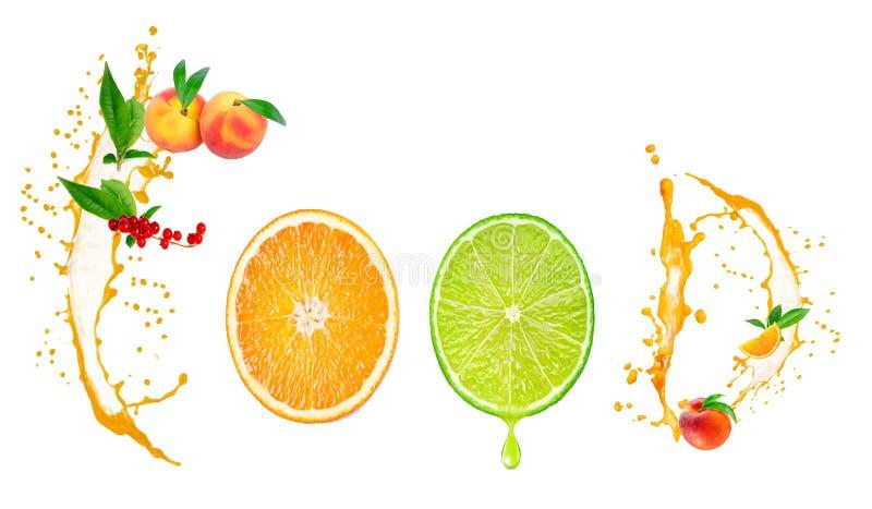 Lebensmittel-Wort geschrieben mit Früchten lizenzfreies stockfoto
