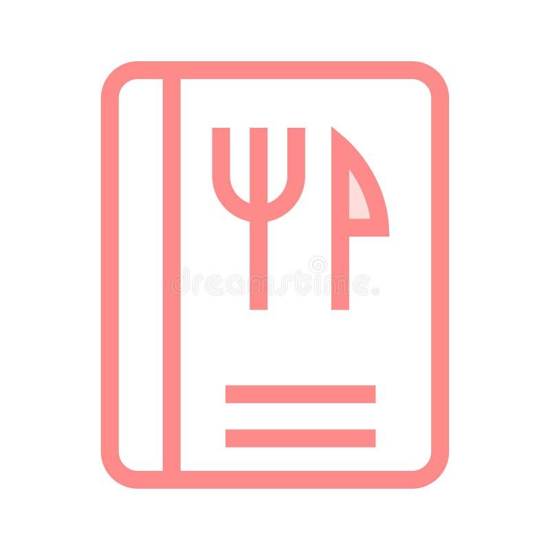 Lebensmittelbuch-Farblinieikone stock abbildung