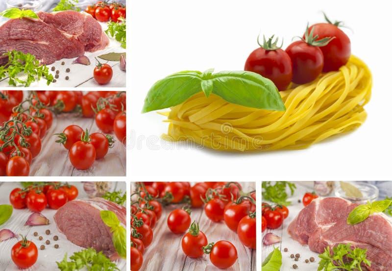 Lebensmittelcollage Ein großes Stück Schweinefleisch mit Kräutern und Tomaten stockbild
