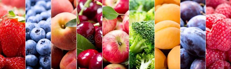 Lebensmittelcollage von Obst und Gemüse von lizenzfreies stockfoto