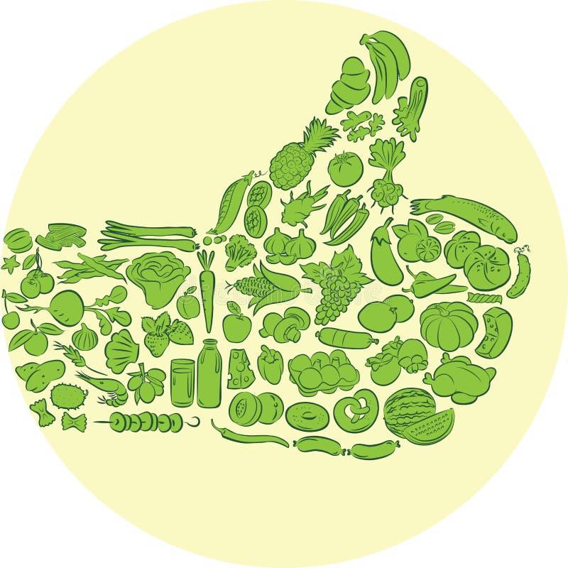 Lebensmitteldaumen oben lizenzfreie abbildung