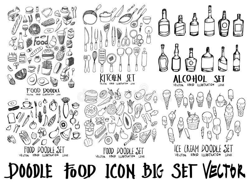 Lebensmittelgekritzelillustrationstapeten-Hintergrundlinie Skizzenart lizenzfreies stockbild