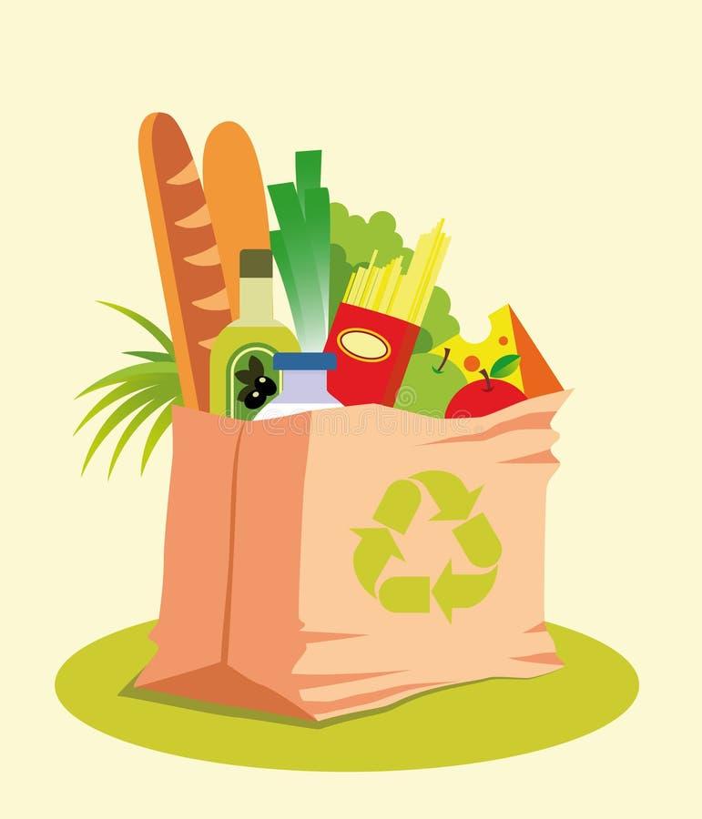 Lebensmittelgeschäft-Beutel mit Nahrung lizenzfreie abbildung