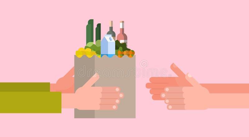 Lebensmittelgeschäft-Zustelldienst-Ikone mit der Hand, die voll Papiertüte Lebensmittel gibt lizenzfreie abbildung