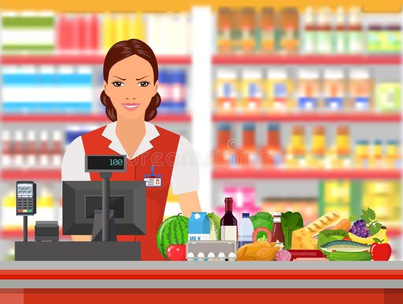 Lebensmittelgeschäftkassierer bei der Arbeit stock abbildung