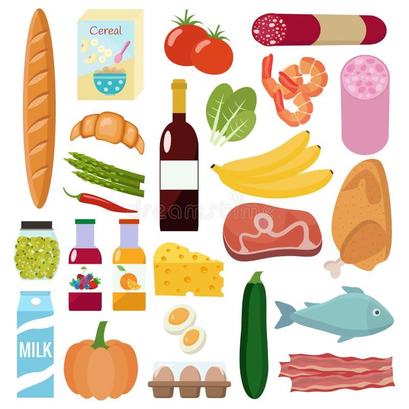 Lebensmittelgeschäftsatz Milch, Gemüse, Fleisch, Huhn, Käse, Würste, Wein, Früchte, Fische, Getreide, Saft vektor abbildung
