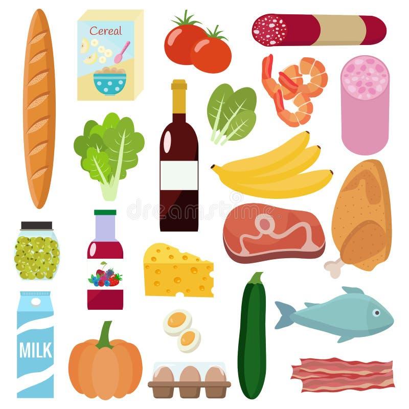 Lebensmittelgeschäftsatz Milch, Gemüse, Fleisch, Huhn, Käse, Würste, Wein, Früchte, Fische, Getreide, Saft lizenzfreie abbildung