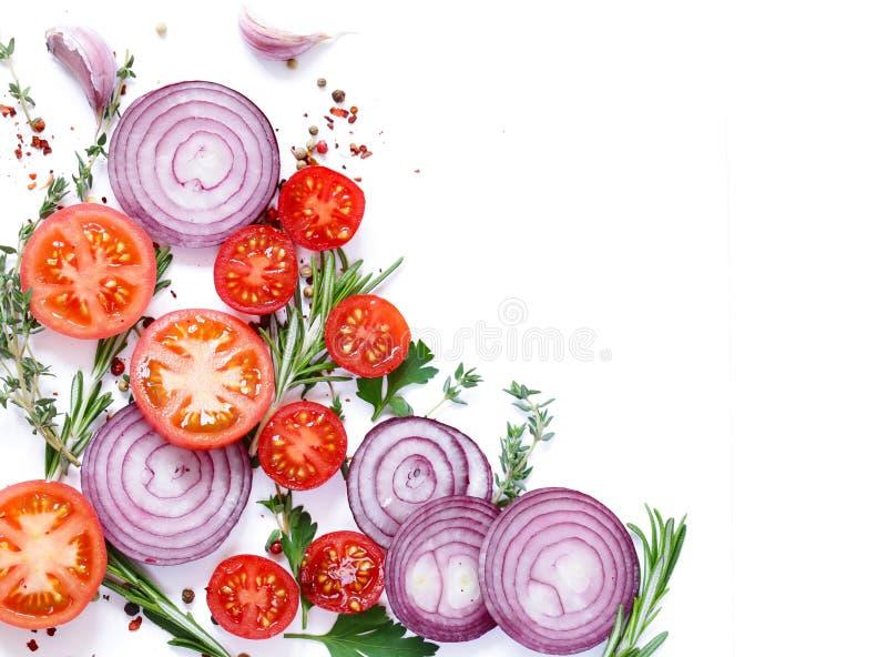 Lebensmittelhintergrund, -kräuter und -gewürze lizenzfreies stockfoto