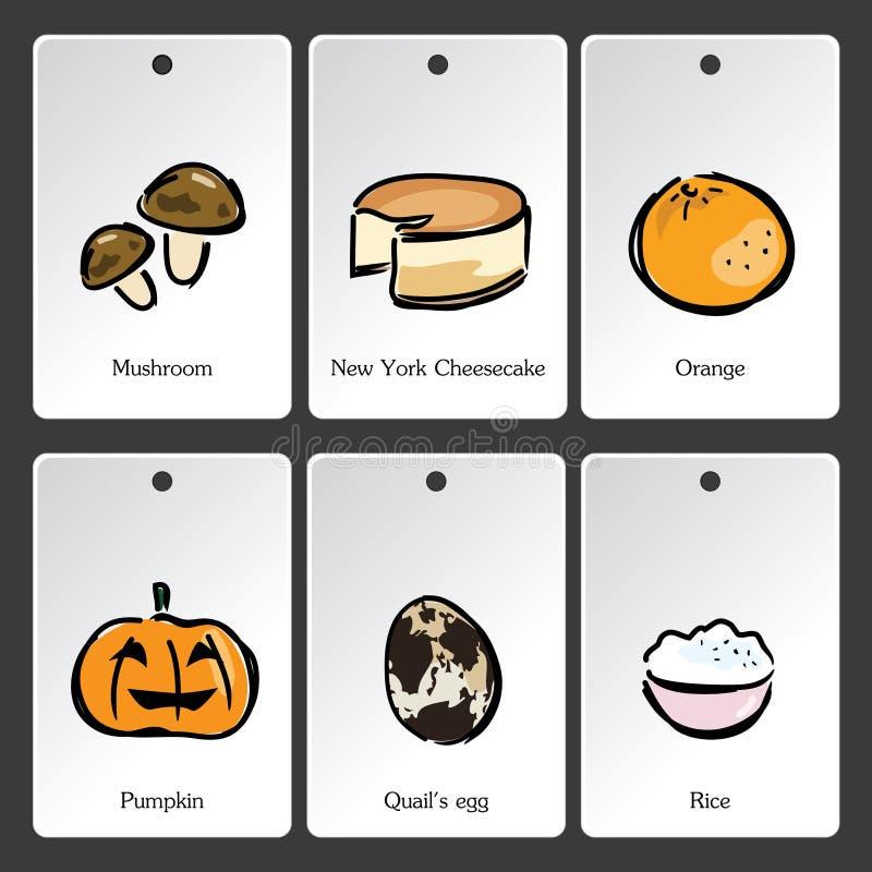 Lebensmittelillustrations-Vokabularkarte lizenzfreie abbildung
