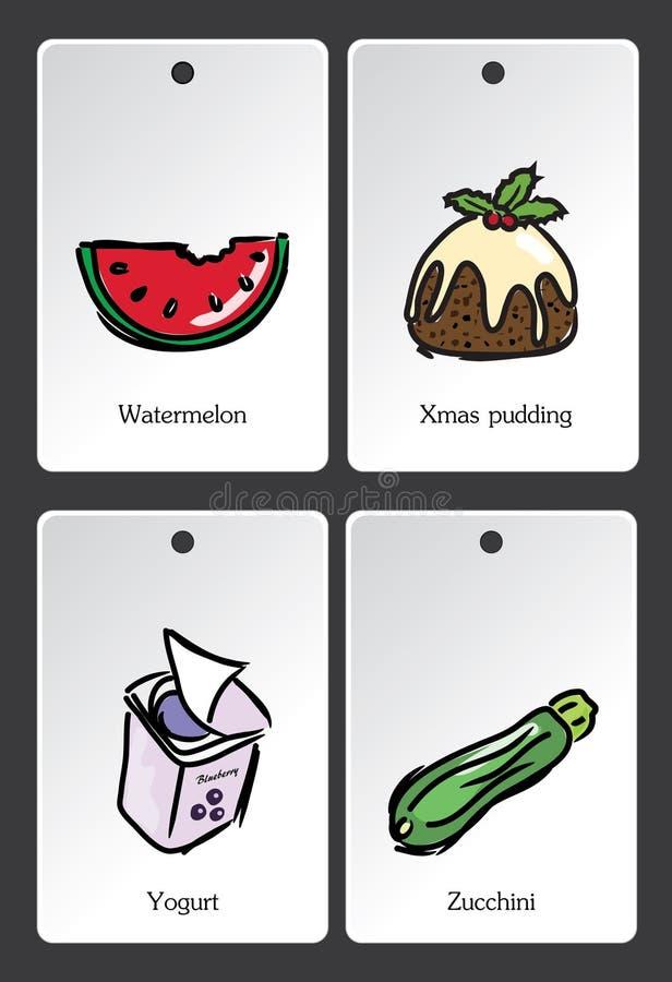 Lebensmittelillustrations-Vokabularkarte vektor abbildung