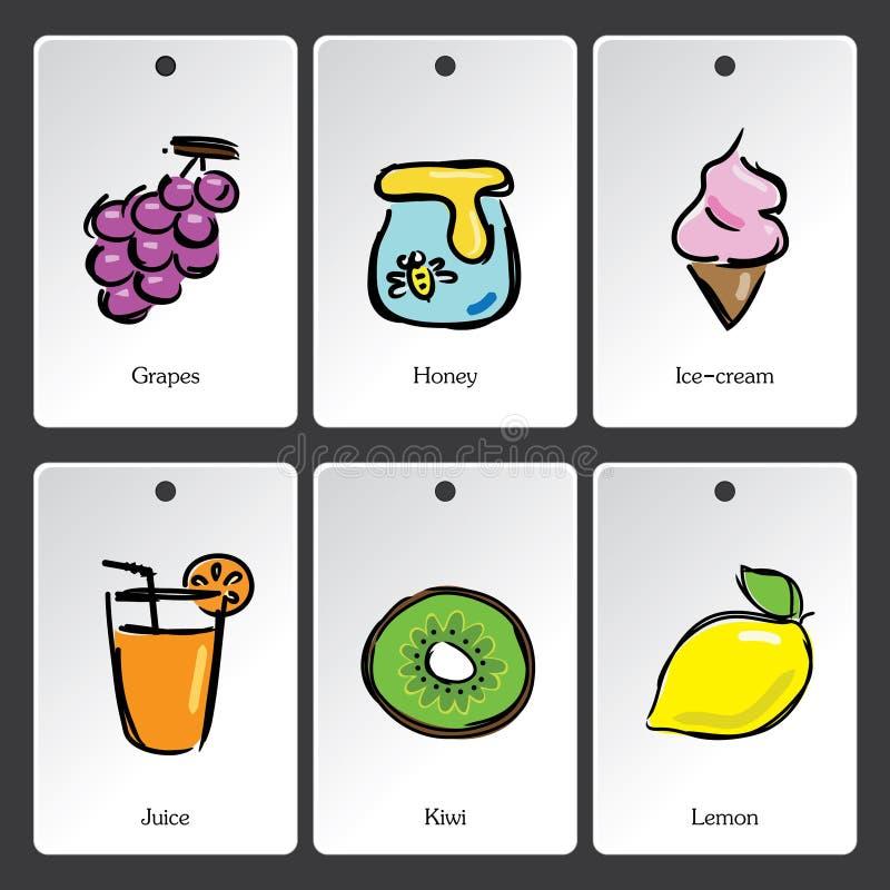 Lebensmittelillustrations-Vokabularkarte stock abbildung