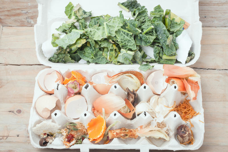 Lebensmittelkomposteierkarton, auf rustikalem hölzernem Hintergrund lizenzfreies stockbild