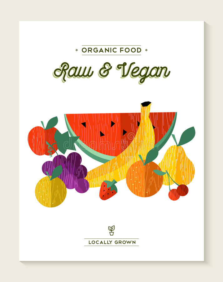 Lebensmittelkonzept des strengen Vegetariers und des Vegetariers mit Früchten vektor abbildung