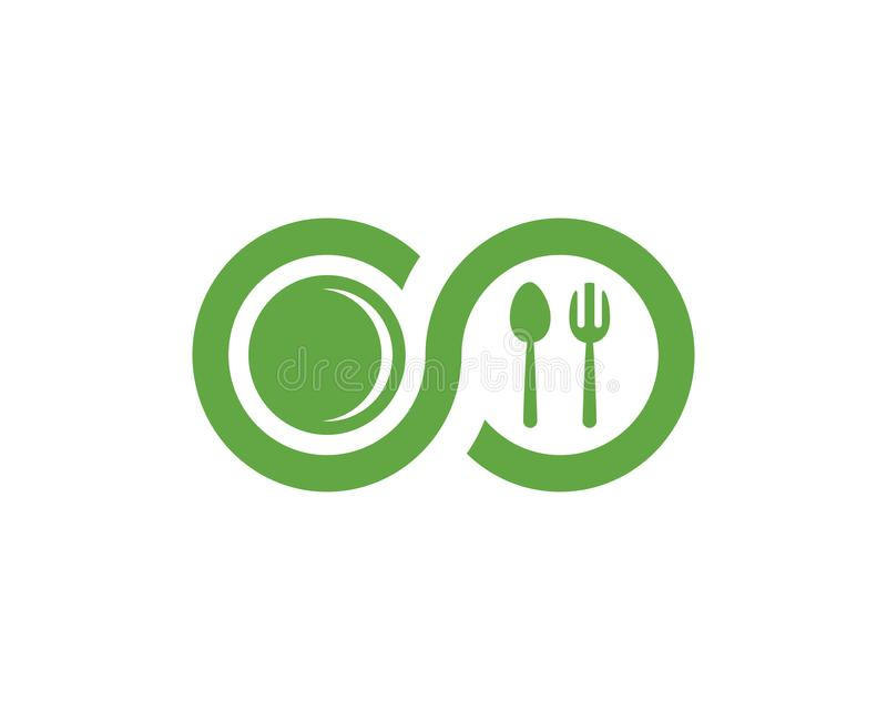 Lebensmittellogoschablone stock abbildung