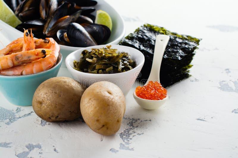 Lebensmittelreiche des Jods lizenzfreie stockfotos