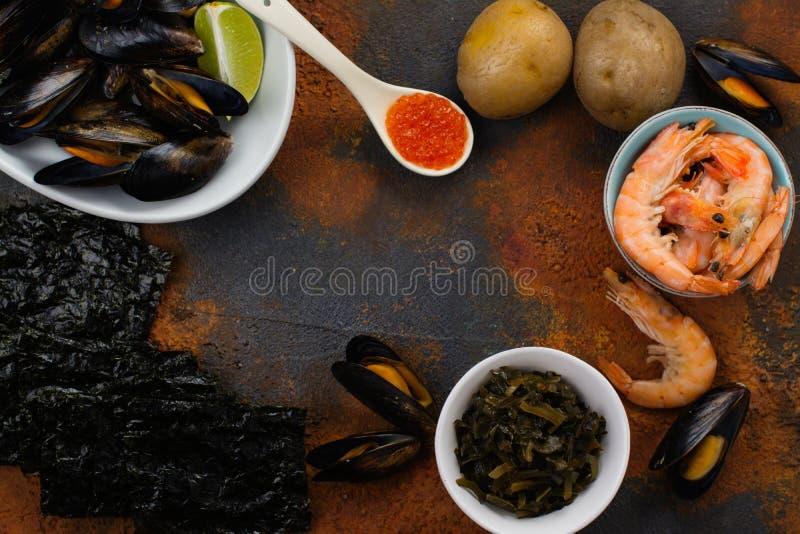 Lebensmittelreiche des Jods stockfotografie