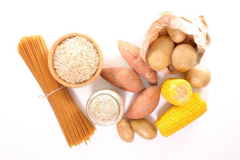 Lebensmittelreiche im Kohlenhydrat stockbild