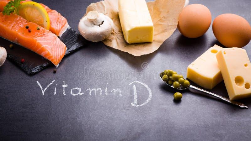 Lebensmittelreiche im Vitamin D und Omega 3 stockbilder